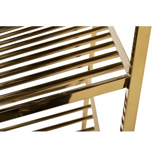 Стеллаж барный прозрачное стекло/золото GY-SH8397GOLD