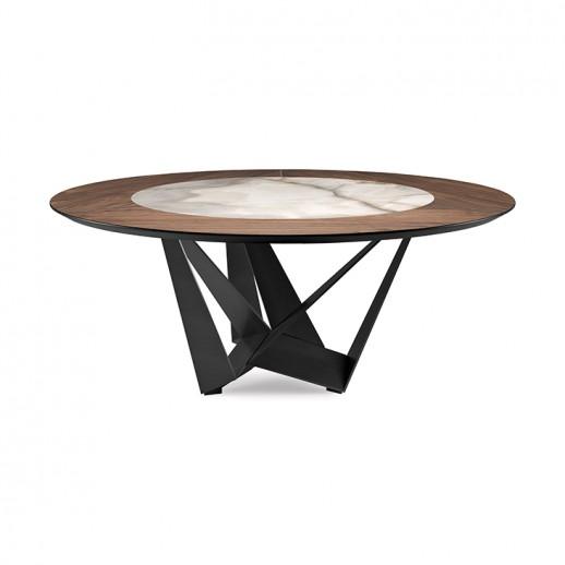 Стол металлический Cattelan Italia Skorpio Ker-Wood Round