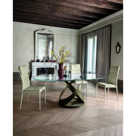 Стол металлический Tonin Casa Capri - 8069FSV-glass d=140